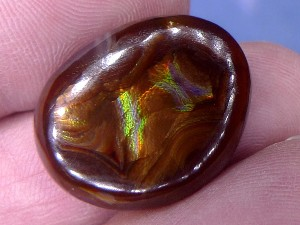 Photo Fire Agate Cabochon 27.9 Carats 25x19x5mm Calvillo Mexico Gemstone MXG026